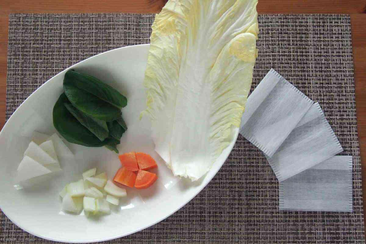 炊飯器 野菜 お茶パック 野菜スープ 手づかみ
